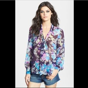 Floral Bow Front Blouse